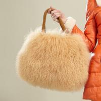 Beach wool bag women's shoulder bag one shoulder fur bags winter
