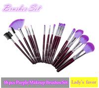 Hot!!100% High Quality 16 Pcs Professional Makeup Brushes Set Purple Women Comestics Make up Brushes Face Care