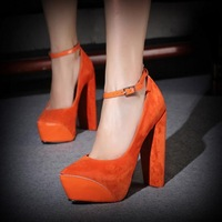 Beautiful candy color ultra high heels single shoes big thick heel patchwork women's platform genuine leather shoes button belt
