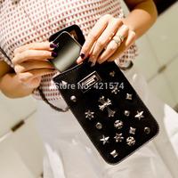 new arrival 2014 mini-packet shoulder bag rivet phone purse wallet 4s phone package Cases tide versatile female diagonal