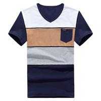hot sale  2014 fashion summer  patchwork color V neck short sleeve men  t shirts