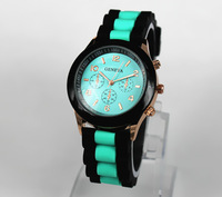 Gorgeous! Hot-selling Unisex Geneva Wristwatches Double Color Fashion for Girls Boys Quartz Movement Silicone Band Free Shipping
