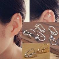 2014 hot clip earrings fashion gold silver alloy heart cross star lightning crystal designer earcuffs  for women boucles bijoux