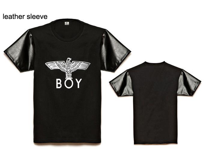 Fashion Boys leather sleeve short Tee shirts brand boy london basic t-shirt men t shirt street dance clothing plus size(China (Mainland))