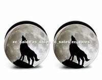 Wholesale 60pcs wolf moon logo ear plug acrylic screw fit ear plug flesh tunnel body piercing mix size 6mm-25mm A0174