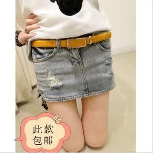 Primavera 2014 curto skorts jeans femininas distrressed rebite lavagem com água saia jeans saia curta busto saia(China (Mainland))