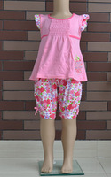 2014 Girl floral t shirt cotton and short pants 2 pieces Summer fashion pink clothing set Size 4-14 0417K2 Free Shipping