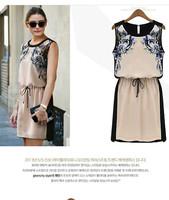 2014 fashion women's summer print high quality elegant chiffon sleeveless girl dress free shipping