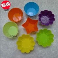 7Colors 12pcs /Lot, Free Shipping Silicone Muffin Cups Cake/pie/chocolate Silicone Mold/Cupcake Mold /Baking Mould Bakeware