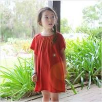 Brand new 2014 new design korean style girl red t-shirt dress,kids clothes,children clothing,fashion hot long beach dress,2-8Y