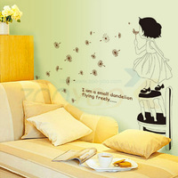 I am small flying Dandelion plant wall decals ZooYoo715 decorative adesivo de parede removable DIY pvc wall stickers