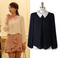 S1131 XXXL XXXXL XXXXXL Plus Size 2014 New Fashion Korea Beads Collar Bottom Chiffon Quality Woman Women's Blouse Shirts