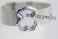 10pcs 18mm width 316L stainless steel belt floating charms cute bear glass locket  bracelet,no floating charm