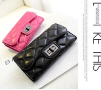 new arrival European design fashion  wallet small plaid embroidery women's long design wallet clutch