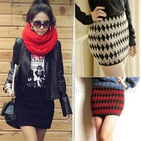 Sexy Woman's Lady's Girl's Chevron Stripe Stretch Bandage Elastic Knit MINI Skirt Above Knee A variety of color Beautiful PQ142