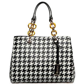 Hong Kong OPPO bag spring 2014 new European and American fashion patent leather shoulder bag houndstooth print handbag handbag(China (Mainland))