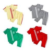 Children's wear the new summer 2014  children suit boy harlan short sleeve T-shirt suits Pants + shirt Children's clothing
