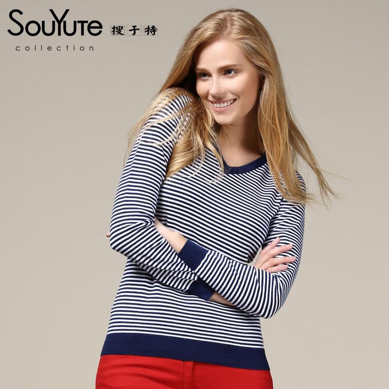Spring women's sweater slim V-neck basic sweater pullover stripe sweater female B3OB69710