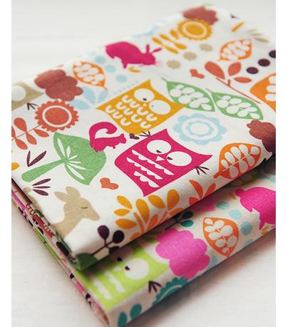2014 NEW Upset polyester cotton mix Colour bird owl rabbit Cartoon canvas DIY Sewing Fabric/Sofa cloth/tablecloth 100X145CM/SETS(China (Mainland))