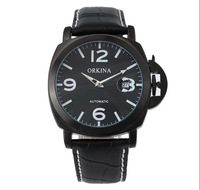 New Promotion 2014 Fashion Watch Orkina Broader Male Table Calendar Automatic Mechanical Leather Dress Watches Men Wristwatches