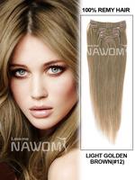 100% human hair 15-20 inch brazilian virgin hair clip in extension #12 color 7pcs/set clip in human hair extension clip ins