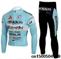 2014 Bianchi blue team long sleeve Winter cycling racing jerseys & pants set bike bicycle thermal fleeced plush fabric wear