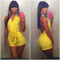 Summer Lastest 2014 Hot Sale  Fashion Women's Ladies Clothing Party Jumpsuits Clubwear Bodycon Sexy Solid Yellow Short  Rompers