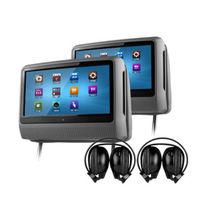 """2x9"""" Touch Screen Car DVD Headrest Player with Games/DVD/USB/SD/IR/FM+2 IR headphone + 1 Joystick  Car Entertainment"""