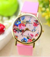MOQ 50pcs Geneva Fashion PU Leather Wrist Watch for Women Lady China Classical Style Flower Dress Watch Best Gift