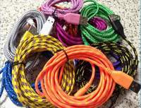 3M Cable for iphone5 Fabric Braided Wire USB Charger Data Sync Cloth Nylon Woven Cord 10 Colors for iPhone 5 5S 5C iOS7 iPad