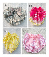 Hot Sale Baby Satin Bloomers Infant 3Layers Flowery Bloomers Girls/Boys Ruffled Shorts with Ribbon Bow Kids Underwear 3Size 6Pcs