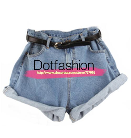New Stylish Harem Blue High Waist Ripped Tassel Denim Shorts For Women Blue High Waist Belt Denim Pant(China (Mainland))