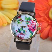 100pcs/lot Geneva Fashion Rose Flower PU Leather Wrist Watch for Women Lady Best Dress Watch