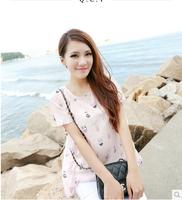 2014 summer short-sleeve shirt short-sleeve top cartoon graphic patterns chiffon shirt female