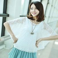 Excellent summer lace batwing shirt sunscreen short design lace shirt female