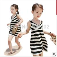2014 summer baby children girls strip dress black white beach dresses