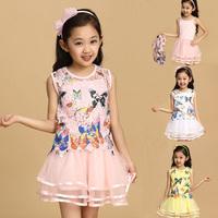 2014 Summer Dress Baby Girls' Sleeveless Dress Princess Butterfly 2 Pcs Set Clothes Children lace dress Kids Fairy Dresses