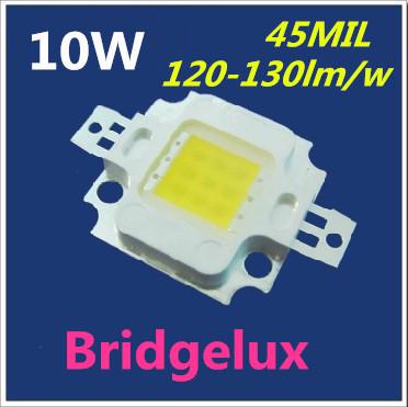 Free Shipping 10pcs/lot High Power Super Bright Integrated Bridgelux LED Light Bulb Beads 10W Lamp Pure White(China (Mainland))