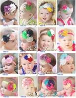 New Baby Girl Shabby Headbands 5 pcs 28 Color TOP BABY Rags Rose Flower Rhinestone Headbands Hair Hoop Princess Hair Accessories