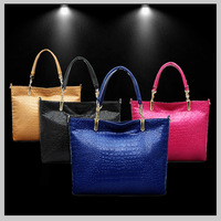 2014 New Fashion Popular Genuine leather Woman handbag Crocodile Candy colors Free shipping