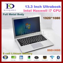 Kingdel 13.3″ 4th generation Processor  I7 laptop notebook with 8GB RAM +500GB HDD 1920*1080,Metal case, 6600mAh, Windows 8