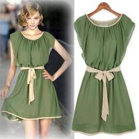 New arrival 2014 short-sleeve chiffon fresh o-neck basic elastic waist  summer causal girl dress free shipping