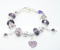 PBB58 / 2014 NEW Purple beads charm heart bracelet, ,925 silver plated bracelets for women, chamilia bracelets Drop shipping