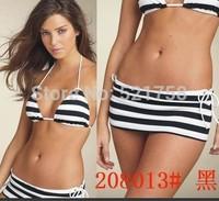 FREE SHIPPING 3 Piece Navy Bikini Set Women's Striped Swimsuit Bathing Suit Stripe Swimwear Plus Size Bathing Suits wholesale