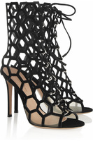 2014 lady heels cuts-out Peep Toe black leather Bootie pre-fall dress shoes high heel sandals boots for women