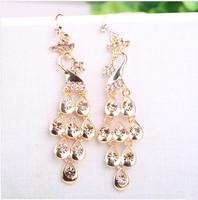 2014 Hot Sale Limited Trendy Women Alloy B325 Fashion Animals Peacock Crystal Drop Earrings Luxury High-grade Hyperbole