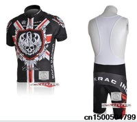 New  ROCK RACING sleeve cycling jerseys bike wear black+red bib short clothes bicycle/bike/riding bib pants