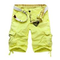 Mens Casual Loose Straight Work Shorts Cotton Short Pants with Belt Yellow Green Blue Multicolors