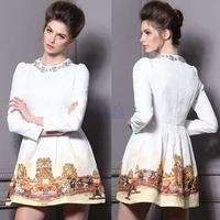 2015 Spring Summer Fashion Palace Beading Dress White Horse Print Victoria Beckham Dress Women Long Sleeve New Eve Dresses 1301