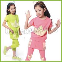 Freeshipping 2014 NEW Children's summer wear new girls cuhk han edition short sleeve T-shirt + pants skirt sports leisure 2pcs